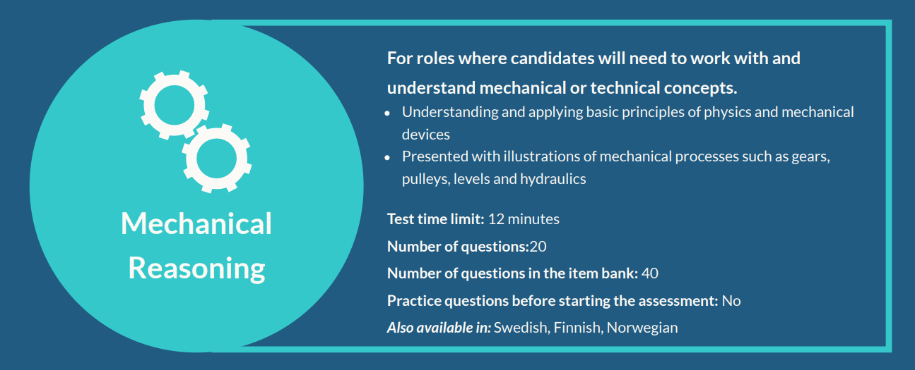 Mechanical reasoning test - Measuring candidate Ability