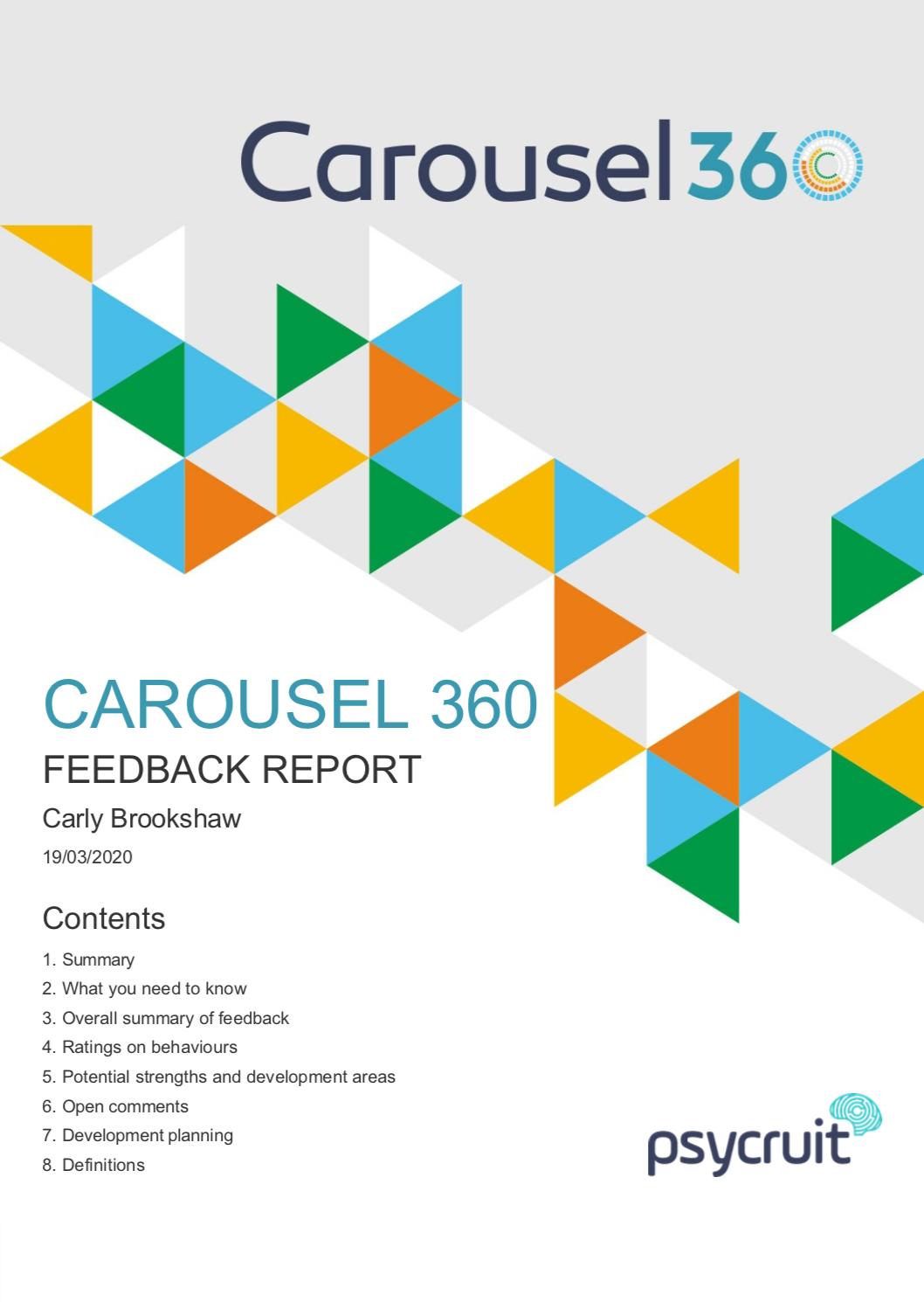 360 Feedback Report - Carousel 360 Degree Feedback Report